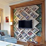 美式简约风格电视背景墙书架装饰