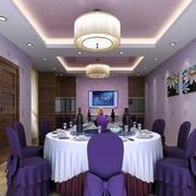 紫色系酒楼包厢装饰