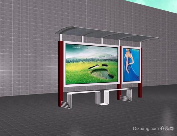 现代简约风格时尚城市便捷公交站台装饰