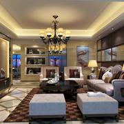 奢华客厅深色系背景墙装饰