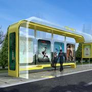 现代化3D公交车站玻璃挡雨棚装饰