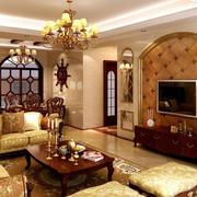 奢华客厅拱形背景墙装饰