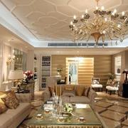 奢华风格复式客厅背景墙