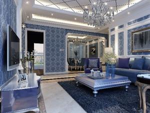 蓝色系法式别墅客厅装饰