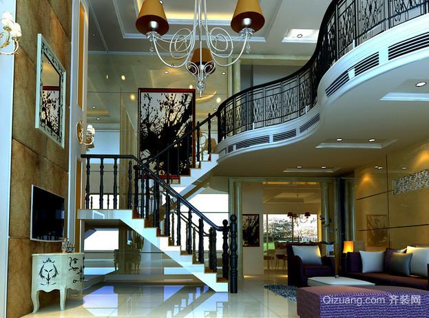 复式楼简约风格家庭客厅茶几装饰效果图