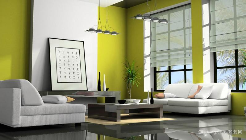 都市现代大户型客厅液体壁纸效果图