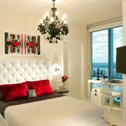 欧式简约风格卧室白色背景墙装饰