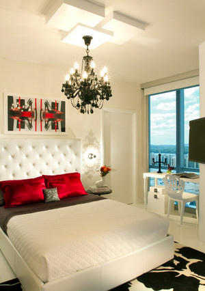 简约风格卧室纯白色背景墙装修效果图