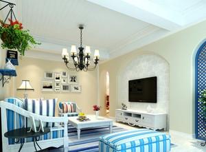 简约地中海风格客厅家居效果图装饰