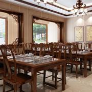 中式酒楼复古桌椅装饰