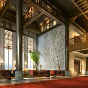 中式酒楼简约原木浅色吊顶效果图