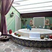 地中海风格卫生间大型浴缸装饰