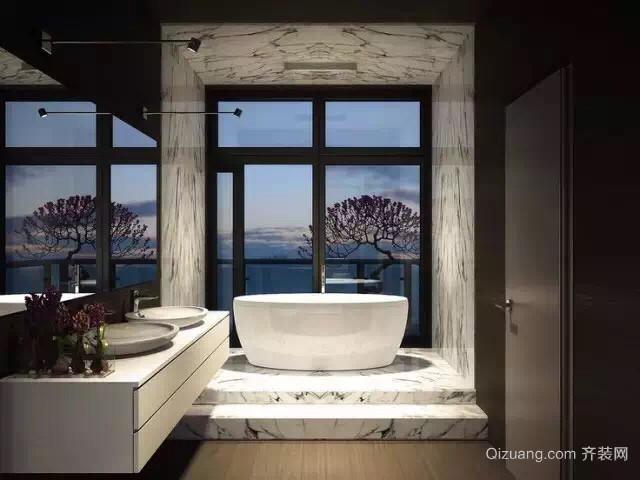 120㎡美式风格大户型卫生间装修效果图