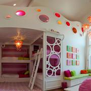 欧式简约风格公主式儿童房床饰效果图