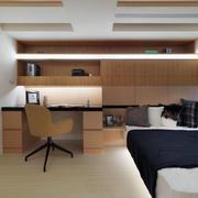 公寓卧室原木色床头柜