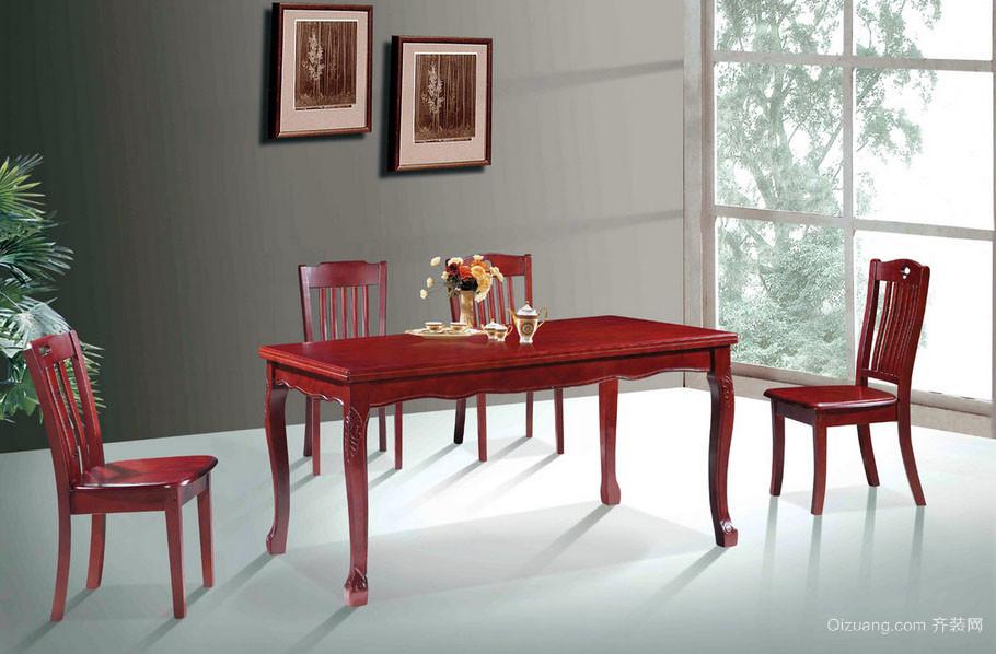 家庭新中式餐厅实木餐桌椅装修效果图