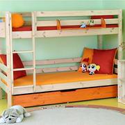 简约原木色儿童高低实木床装修效果图