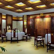 中式酒楼复古原木桌椅装饰