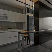 公寓一字型厨房吧台