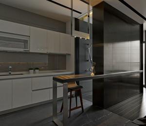 黑白系列的一居室小公寓装修效果图