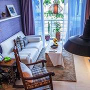 新古典客厅紫色墙衣