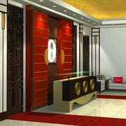 中式酒楼简约风格前台装饰