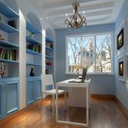 地中海风格浅蓝色书柜装饰
