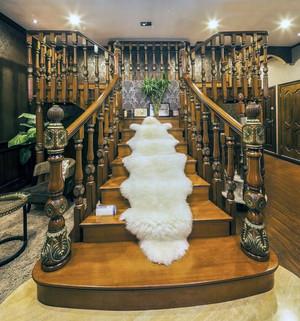 现代别墅型室内实木楼梯装修效果图