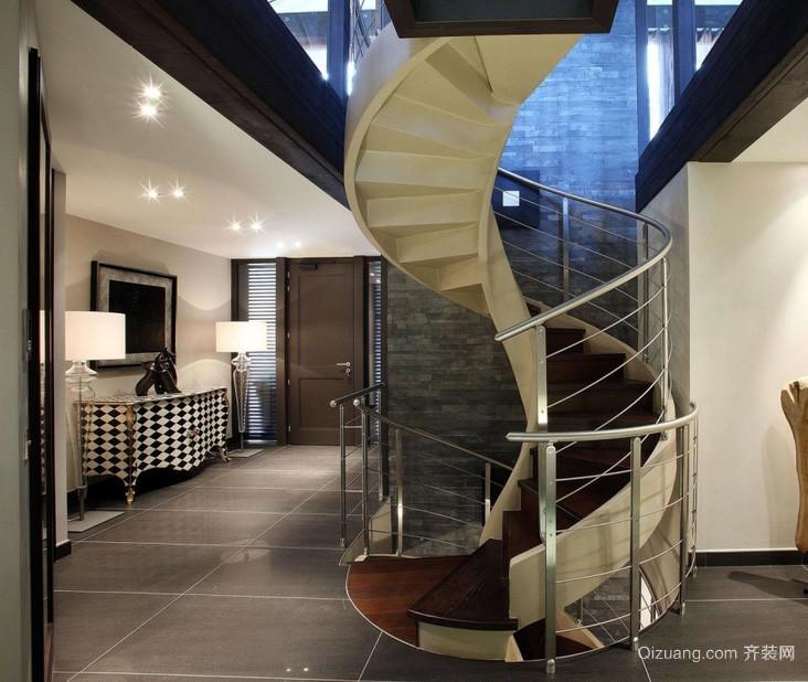 复式楼室内旋转楼梯装修设计效果图