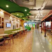 90平米美式风格儿童主题餐厅装修效果图