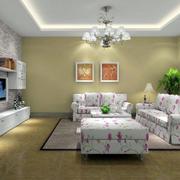 韩式别墅小碎花客厅装饰
