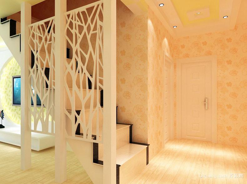 暖色调室内楼梯隔断装修设计效果图