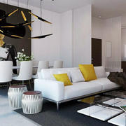 后现代风格农村房屋客厅沙发装饰