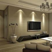 咖啡色客厅海藻泥电视背景墙效果图