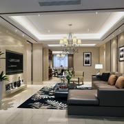 120平米大户型欧式客厅装修效果图