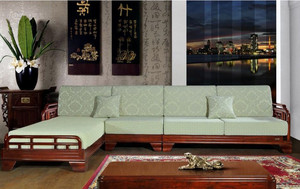 新中式风格客厅实木沙发装修效果图片