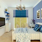 地中海风格卧室蓝白色背景墙装饰