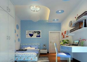 蓝白相间的卧室装潢