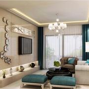 小户型简约客厅个性瓷砖电视背景墙效果图