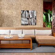 老年公寓客厅实木沙发装修效果图片
