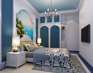 浪漫蓝白色地中海风格卧室装修效果图