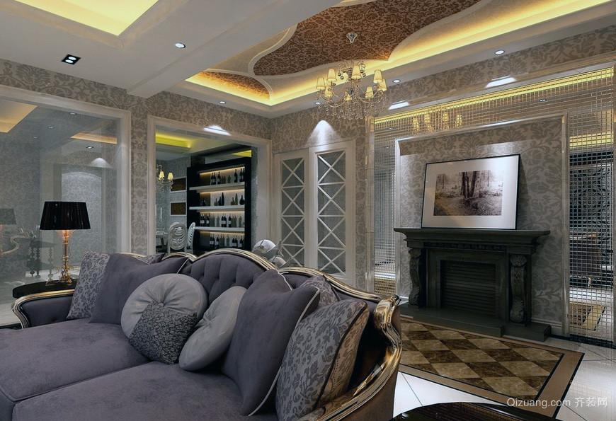 精致大户型欧式客厅吊顶装修效果图