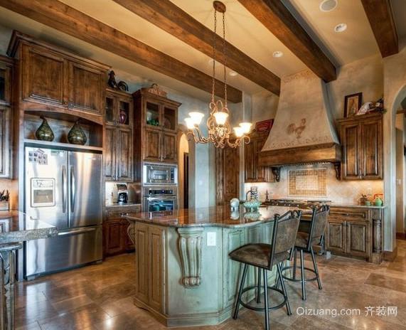 大户型美式混搭风格开放式厨房装修效果图