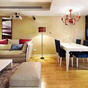 北欧简约风格客厅木地板效果图