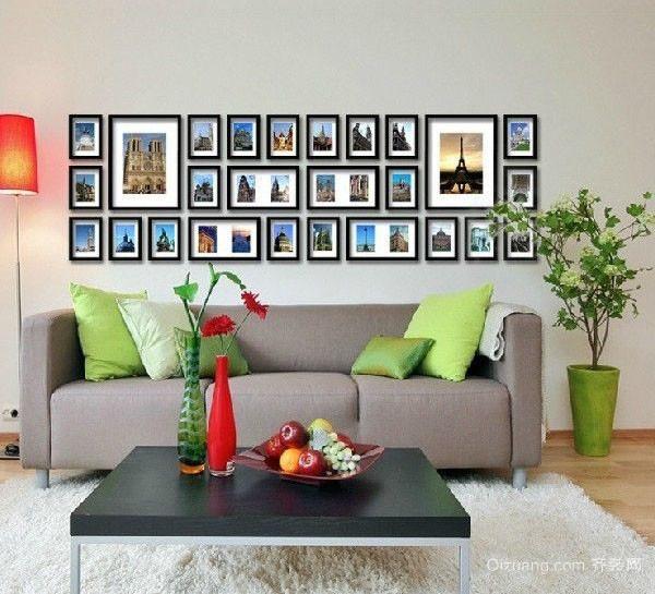 客厅简约沙发照片墙背景设计效果图