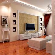 现代简约风格客厅深色系木地板装饰