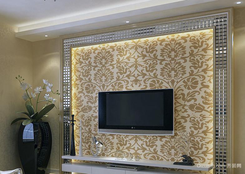 欧式大户型客厅电视机背景墙装修效果图