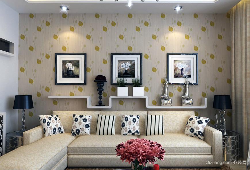 现代欧式大户型客厅沙发背景墙装修效果图