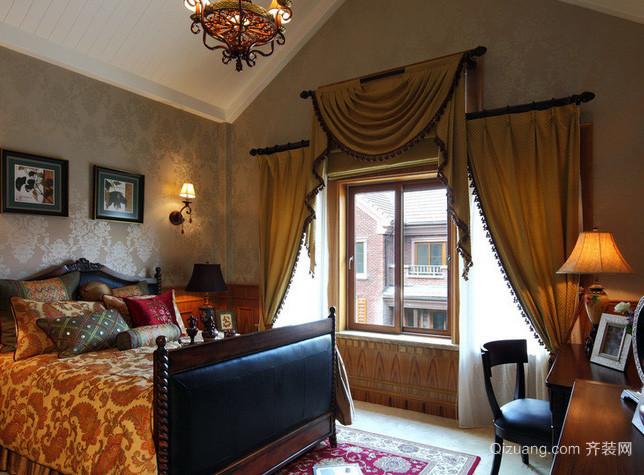 别墅东南亚风格卧室飘窗装饰效果图