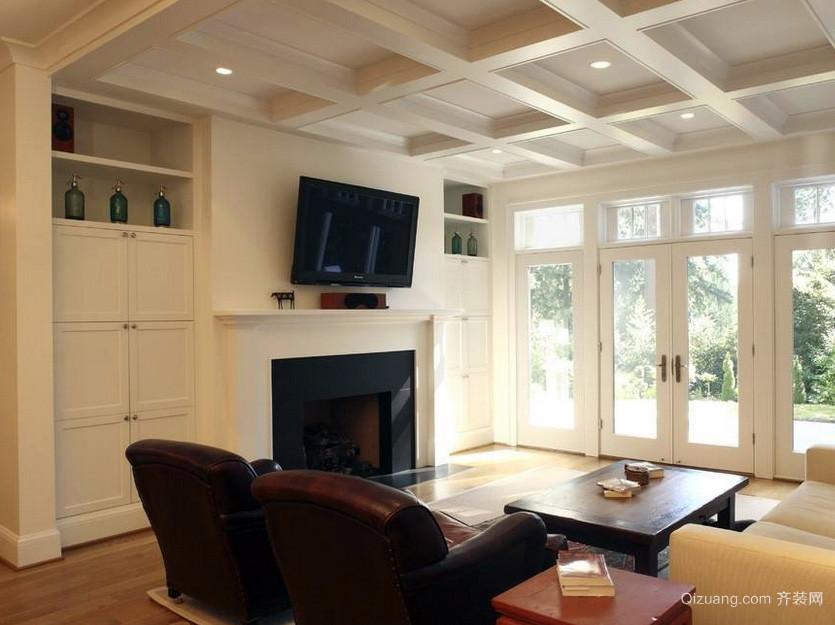 小别墅家装客厅石膏线吊顶装修设计效果图